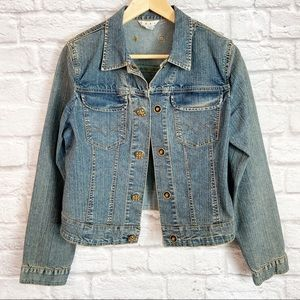 cAbi Blue Denim Jean Jacket Jeweled Buttons